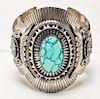 Eddy Chaco Native American Silver Turquoise Cuff