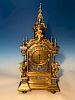 Very Large 19th C. French Champleve Enamel Gilt Bronze Clock