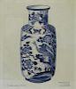 Blue + White Porcelain Vase Lithograph