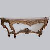 Gilded Wood & Marble Console Table
