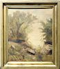 Signed, 20th C. Figure in a Landscape Painting