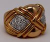 JEWELRY. Signed Italian 18kt Gold and Diamond Ring
