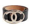 Chanel Black Calfskin Belt Gold CC Buckle Sz 34
