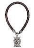 Kieselstein-Cord Leather & Sterling Horse Necklace