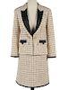 Chanel Beige Metallic Silver Gold Tweed Suit SZ 44
