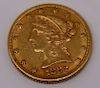 GOLD. United States 1882 $5 Gold Coin.