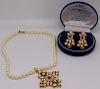 JEWELRY. 3 Pcs. of Indian Kundan Style Jewelry.