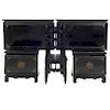 Recámara. Siglo XX. Elaborados en madera laqueada. Consta de: Par de camas individuales, par de burós y silla. 56 x 60 x 40 cm.