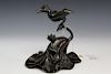 Chinese antique bronze bird on lotus leaf incense burner. Qing Dynasty.