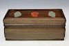 Chinese rosewood box with carved jade inlaid.