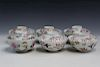Six Japanese hand-painted porcelain bowls with lid.
