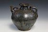 Chinese antique black glaze water jar. 19th C.