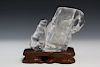 Chinese carved rock crystal vase. Qing dynasty.