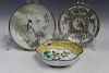 Two Chinese famille rose porcelain dishes and one Chinese enamel on copper dish.