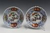 Pair of Chinese hand-painted porcelain dishes, Ming Jiajing mark.