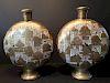 ANTIQUE Japanese large pair Satsuma Moon Flask Vases, Meiji period