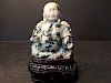 """OLD Chinese Soup Stone Lohan on Stand,  4 1/4"""" high, 19th century"""