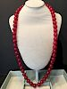 """FINe Chinese Red Agagte Necklace, 30"""""""