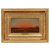 """Martin Johnson Heade (1819- 1904) Painting, """"Sunset"""""""