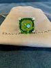 David Yurman Cushion Diamond Peridot Ring Sz 6