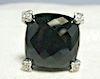 David Yurman Cushion Diamond Black Onyx Ring Sz 6