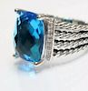 David Yurman Wheaton Blue Topaz Diamond Ring Sz 6