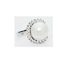 Platinum 900 South Sea Pearl Diamond Ring