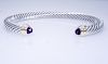 David Yurman Sterling 14K Amethyst   5mm Cable Bracelet