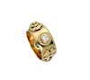 Vintage Chanel Embossed Motif Diamonds Gold Ring Size 6