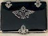 Russian Silver Black Enamel Diamond Garnet Tobacco Box