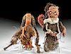 Lot of 2 Chancay Polychrome Textile, Fiber & Wood Dolls