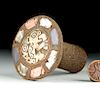 Large Chancay Wood Earspool w/ Shell Inlays