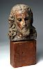 Rare 18th C. Life-Size Wooden Head of Jesus - Ecuador