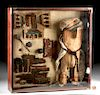 Lot of 8 Framed Chancay Wood, Textile & Copper Items
