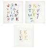 PABLO PICASSO, Alphabet, Unsigned, Offset Screenprints w/o printing number, 30 x 26.5 cm, Pieces: 2