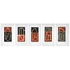 """VICENTE ROJO, Juego de letras (""""Letter Game""""), Signed Sugar lift and aquatint engraving  P / T, 5 Pieces Framed Together"""