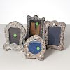 (4) English sterling repousse picture frames