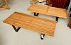 Pair George Nelson style slat benches
