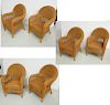 Set (6) Victorian style faux wicker garden chairs