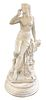 Large French Carved Marble Maiden