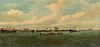 """JULIUS STOCKFLETH (American/Texas 1857-1935) A PAINTING, """"View of Galveston from Pelican Island,"""" 1907,"""
