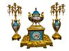 French Gilt Bronze & Sevres Garniture Set by Henri Picard.