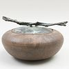 Contemporary Raku Pottery Bowl with Bronze Cover and Twig Form Finial