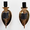 Pair of Brass and Painted Metal Hand Form Sconces, in the Manner of Arbus