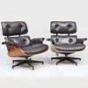 Pair of Charles and Ray Eames Leather and Rosewood Chairs and Ottomans, for Herman Miller