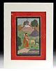 19th C. Mughal Miniature Painting - Regmala & Saadu