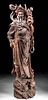 Lifesize 19th C. Chinese Qing Wood Statue - Yama King