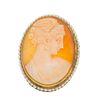 Pendiente prendedor con camafeo en plata dorada .800. Imagen de dama. Bisel con simulantes. Peso: 8.7 g.