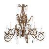 Candil. Siglo XX. En metal dorado. Electrificado para 12 luces. Decorado con cuentas facetadas y almendrones de cristal. 90 x 100 cm. Ø