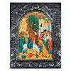 Ícono de la entrada triunfal de Jesús en Jerusalén. Grecia, siglo XX. Acrílico sobre tabla con falda de lámina repujada.